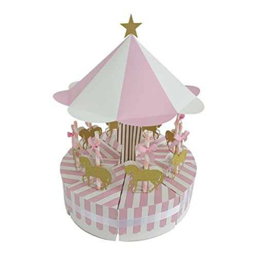 TOYMYTOY Vintage Candy Boxes,Creative Carousel Paper Candy Box Chocolate Gift Treat Boxes for Wedding Party Favor (Pink) -