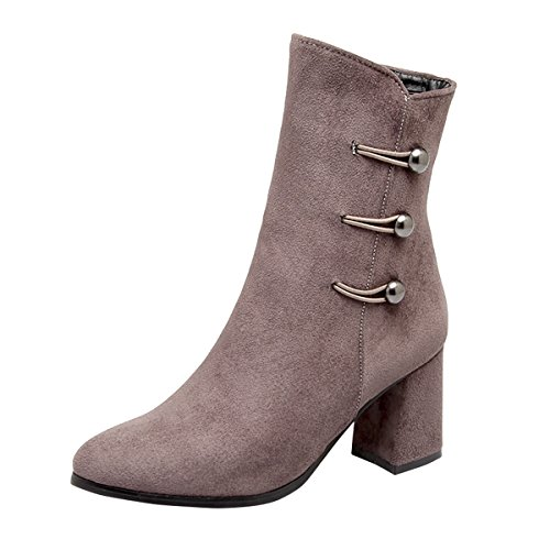 YE Damen Chunky Heels Ankle Boots Stiefeletten High Heels mit Reißverschluss und Perlen Elegant Modern Schuhe Grau