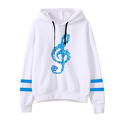 Sunhusing Ladies' Musical Notes Printing Long Sleeve Drawstring Hoodie Sweatshirt Pullover Top Blue