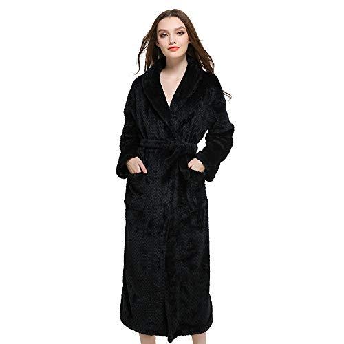 DEATU Sale Men's Women's Bathrobe Big and Tall Winter Lengthened Coralline Warm Plush Shawl Home Clothes Robe Coat Long(C-Black,Large)
