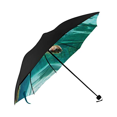 Patio Umbrella Stand Interesting Underwater Swimming Dogs Underside Printing Travel Clear Umbrella Mens Umbrella Travel Folding Umbrellas Compact With 95% Uv Protection For Women Men Lady Girl
