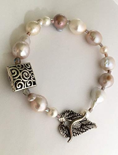 Freshwater Baroque Pink And White Pearl Bracelet Sterling Silver Clasp