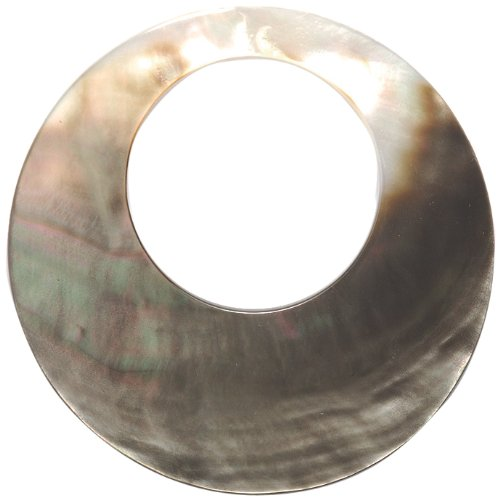 Shipwreck Beads Black Lip 30mm Hole, 60mm Mother of Pearl Shell Circle Pendant, 60-mm