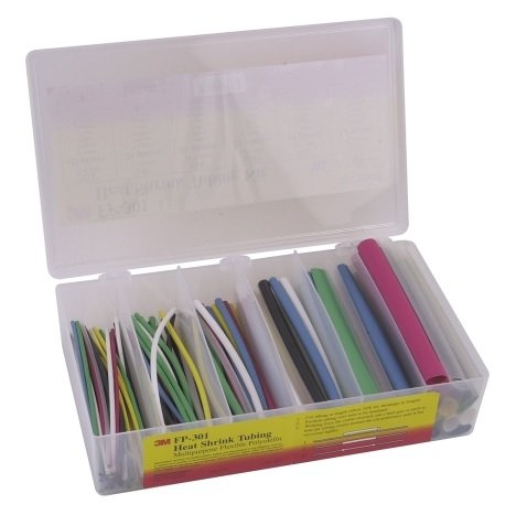 3M FP301-3/32-TO-1/2-ASSRTED-5 Single Wall (Thin) Heat Shrink Tubing FP-301 Assorted Size Kit 48 Inch Flexible Polyolefin