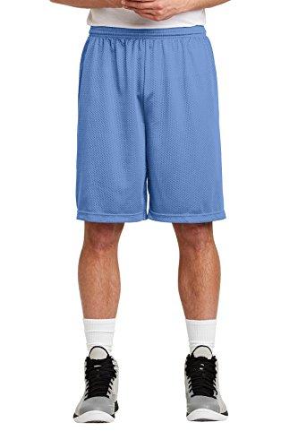 (Sport-Tek Long PosiCharge Classic Mesh Short. ST515 Carolina Blue M )