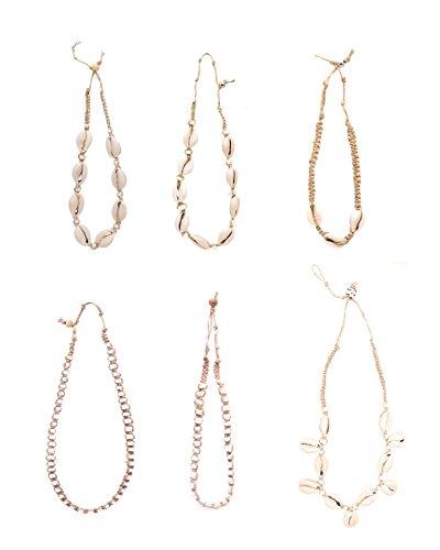 Cowrie Shells Hemp Necklaces for Women, Men, Girls, Teens | Natural Hemp Cord | Handmade | 6 Piece Set | Unisex | US seller (Unisex Cord)