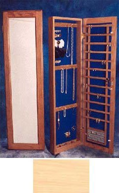 Wall Mounted Jewelry Cabinet Recessed Small No Lock Natural Maple ()