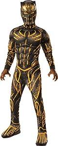 Rubie's Child's Deluxe Black Panther Movie Erik Killmonger Costume, Black/Gold, Medium