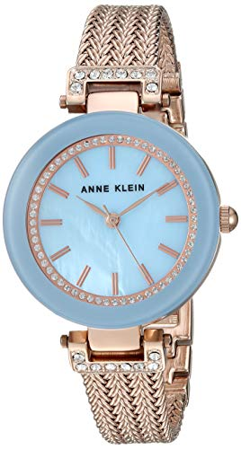 Anne Klein Women's AK/1906LBRG Swarovski Crystal Accented Rose Gold-Tone Mesh Bracelet Watch