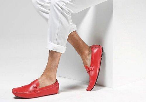 Mens Vera Pelle Casual Slip-on Business Penny Scarpe Da Guida Mocassino Eur Taglia 38-44 Rosso