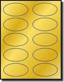 "Shiny Gold Foil Oval Labels for Laser Printers with Template and 3.25/"" x 2/"""