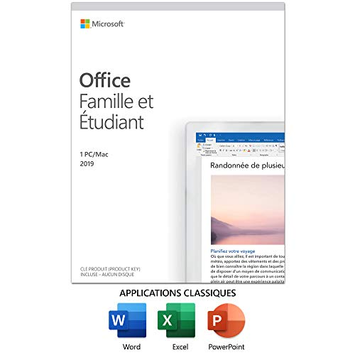 Microsoft Office Home and Student 2019, 1 Device, Windows 10 PC/Mac French