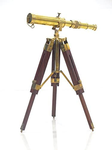 Vintage Brass Floor Standiing Telescope on Tripod Stand use DF Lens Antique Desktop Telescope for Home Decor & Table Accessory Nautical Spyglass Telescope for Navy and Outdoor Adventures