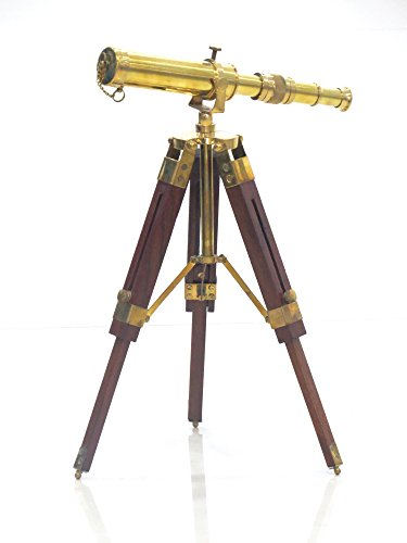 Vintage Brass Telescope on Tripod Stand use DF Lens Antique Desktop Telescope for Home Decor & Table Accessory Nautical Spyglass Telescope for Navy and Outdoor Adventures. from NAUTICALMART