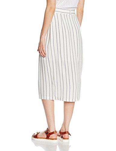 New Look Tie Waist Popper, Falda para Mujer Blanco