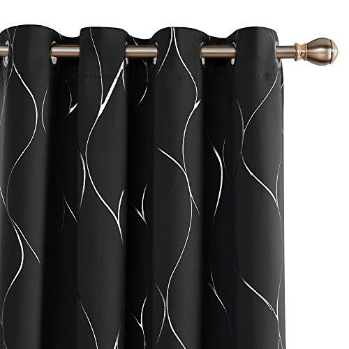 Deconovo Grommet Blackout Curtains Noise Reducing Curtain Silver Foil Wave