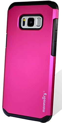 Galaxy S8 Plus/Galaxy S8+ Case, Maxessory Hot Pink Globetrotter Heavy-Duty Protective Hybrid Cover w/Durable Shock-Absorbing Full-Body Protective Tough Hard Shell Armor