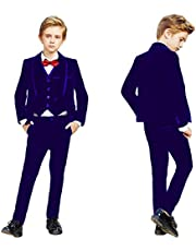 Sxfashbrd Boys Velvet Slim Fit Suit 3 Pieces Blazer Vest Pants Tuxedos Formal Prom Party Outerwear Jacket Coats