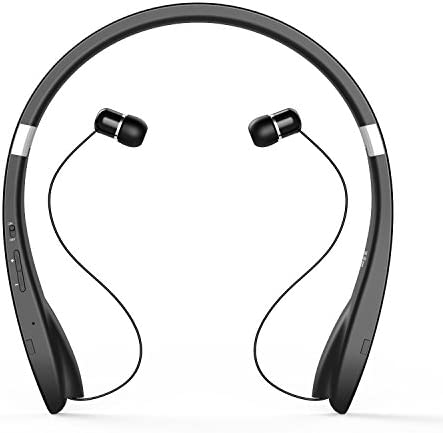 Grandey Bluetooth 4.1 Headset Neckband Design Wireless Headphone Earphone with Retractable Earbuds for iPhone, Android Tablets, Other Bluetooth Enabled Devices Black