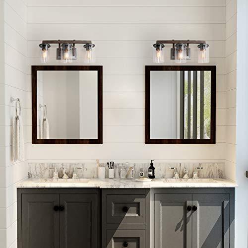 Laluz 3 Light Rustic Bath Vanity Light Fixture Wall Sconces With