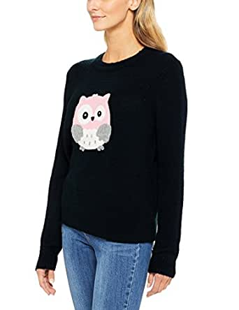 French Connection Women's Embroidered Owl Knit, Multicolored (Nocturnal Multi), X-Small