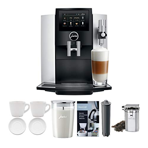 Jura S8 Superautomatic Touchscreen Espresso Machine with Milk Container, Bean Canister, Filter, Descaler & Espresso Cups Bundle (7 Items)