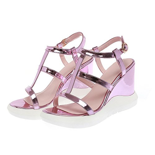 AllhqFashion Women's Buckle High Heels Pu Solid Open Toe Sandals Purple xtP4XUET
