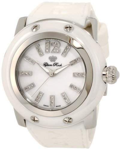 Glam Rock Women's GRD30018-RB Miami Diamond Accented Mother-of-Pearl Dial White Silicone Watch