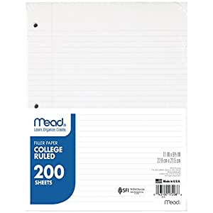 """Mead Loose Leaf Paper, Filler Paper, College Ruled, 200 Sheets, 11"""" x 8-1/2"""", 3 Hole Punched, 1 Pack (17208)"""