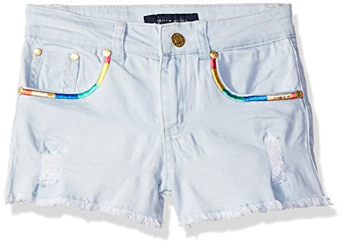Tommy Hilfiger Girls' Big 5-Pocket Denim Short, Sunwashed Blue Rainbow, (Rainbow Denim Shorts)
