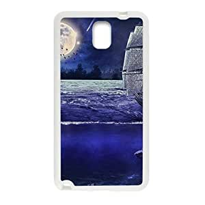 Bright Moon And Ship White Phone For Case Samsung Galaxy Note 2 N7100 Cover