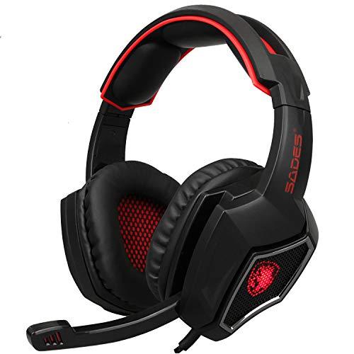 YANNI Sades SPIRITWOLF 3.5mm Version PC Over-Ear Stereo Gaming Headset Headband Headphones with Mic