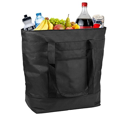 Insulated Grocery Bag By Lebogner - Large 5 Gallon Capacity Vacation Cooler Bag For Hot Or Cold Food With Zipper Closure, Collapsible Travel Delivery, Shopping Carry Basket, Camping Outdoor Picnic Bag (Slide Freezer Basket Out)