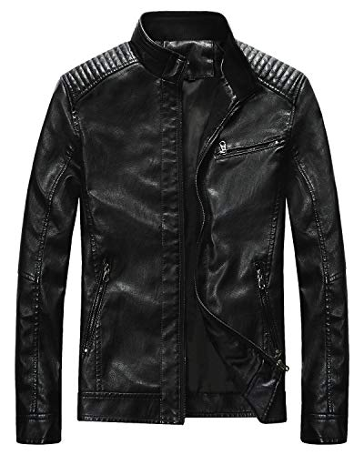 Fairylinks Leather Jacket Men Black Motocycle Lightweight Classic, Black, X-Large (Peak Performance Rocker Jacket)
