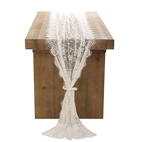 Ling's moment White Lace Table Runner/Overlay 32x120 Inches Rustic Chic Wedding Reception Table Decor Boho Party Decoration Baby&Bridal Shower Decor -
