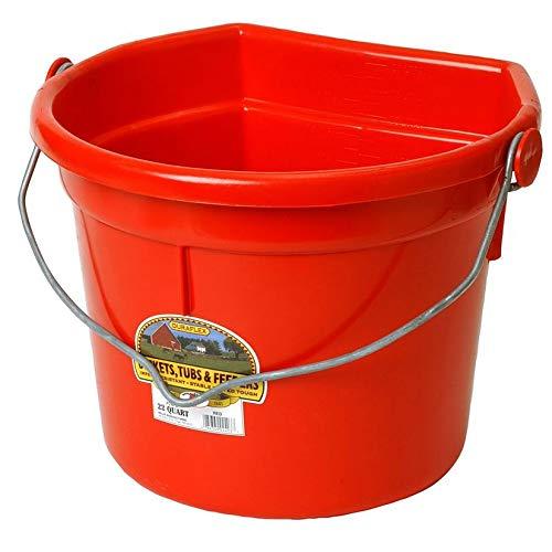 - Little Giant Flat-Back Dura-Flex Plastic Bucket with Knob Bail, 22-Quart, Green