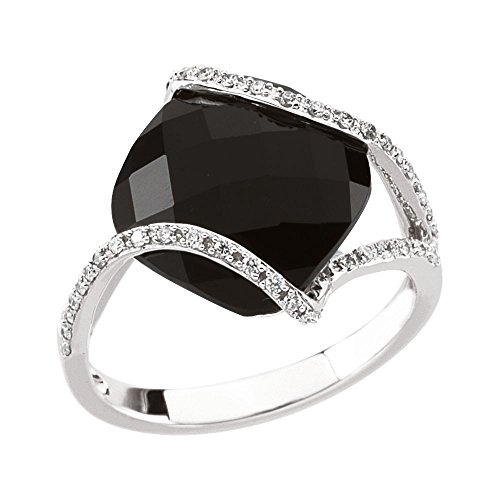 14k White Gold Size 7 Polished Simulated Onyx and 0.2 Dwt Diamond Ring ()