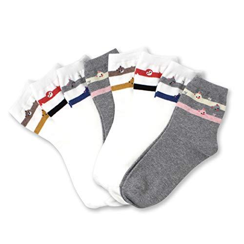 LIVEBEAR Womens Cute Mini Print Funny Novelty Crew Socks Made In Korea (Ring Animals 8 Pack)