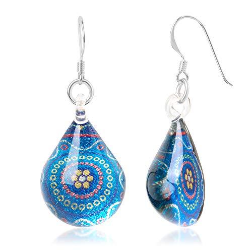 925 Sterling Silver Glass Jewelry Blue Abstract Art Flower Mandala Dangle Teardrop Earrings ()