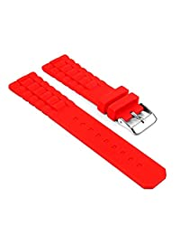 StrapsCo Waterproof Red Silicone Watch Band Ribbed Rubber Strap fits Tag Heuer 24mm