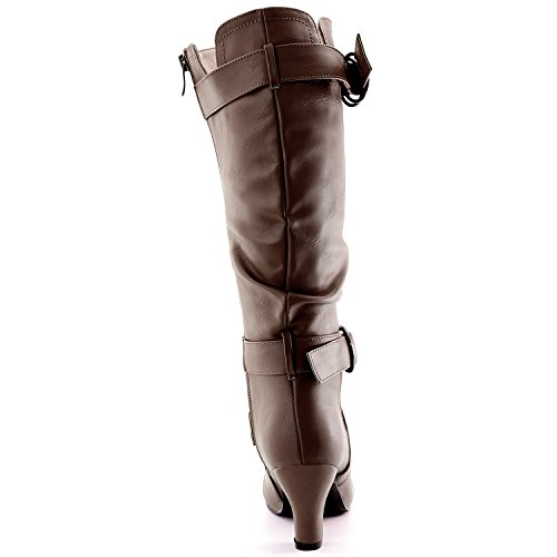 2 Taupe and Womens Boots w Fashion Strappy with Heel Boots Pu Straps M Calf B Dailyshoes Side Slouchy US Pocket 5 Ankle Top Mid ApxC8qP