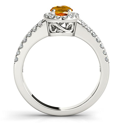 Oval Ring Citrine Shaped (1.65 Ct. Ttw Diamond and Oval Shaped Citrine Ring in 10K White Gold)