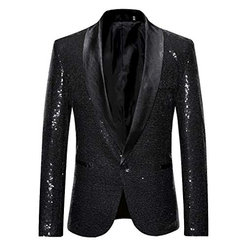 Classic Cotton Boxer Oxford - Mens Luxury Sequins Classic Blazer Party Jacket Suits Slim Fit Single Breasted Vintage Formal Business Dinner Suits Black