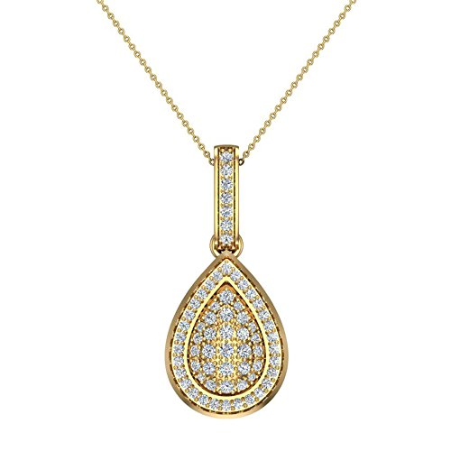 1.00 ct Pear Drop Shape Diamond Necklace Pendant 14K Yellow Gold (P0200)