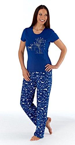 Señoras de las mujeres ropa de dormir ropa de noche otoñal impresión manga corta pijama traje conjunto, varios colores y tamaños Marina de guerra
