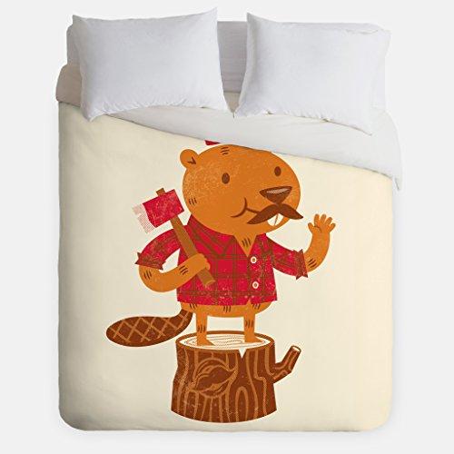 Beaver Lumberjack Duvet Cover / Animal Bedroom Decor / Made in USA / Great Bedroom Artwork by Fuzzy Ink