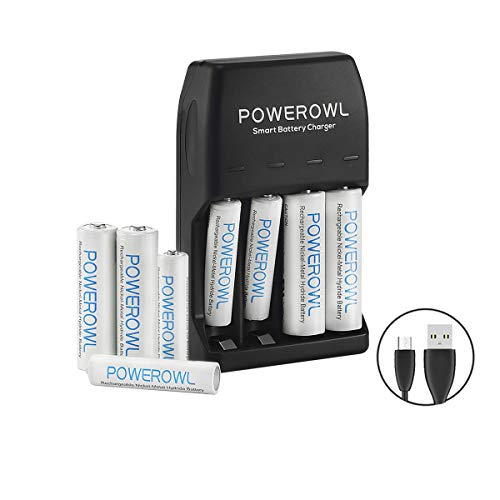 POWEROWL AA AAA Smart Battery Charger with 4-Pack AA Rechargeable Batteries and 4-Pack AAA Ni-Mh Rechargeable Batteries Micro Cable No Adapter ()