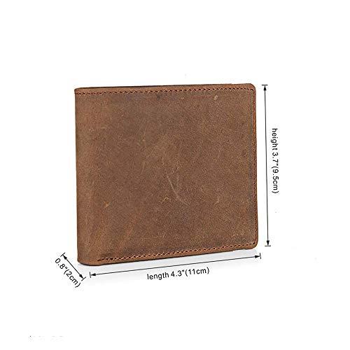 Portefeuille Crédit Fenêtres Emplacements Portef 2 Monnaie Pour À Véritable Brown Homme Cuir Porte Identification En Marron Cartes cartes Cuir De Compartiments 10 zg6qxw7tx