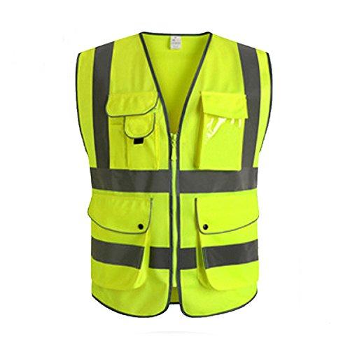 GanDecor Reflective Vest with Pockets Zipper Front Security Safety Top Hi-vis from GanDecor
