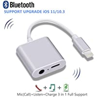 iPhone 7 Adapter, iPhone 7/7 Plus/8/X Headphones Adapter, Support Call & Listen & Charge, Lightning to 3.5mm Headphone Jack Audio Adapter (Upgrade for iOS 11/10.3) (Silver)